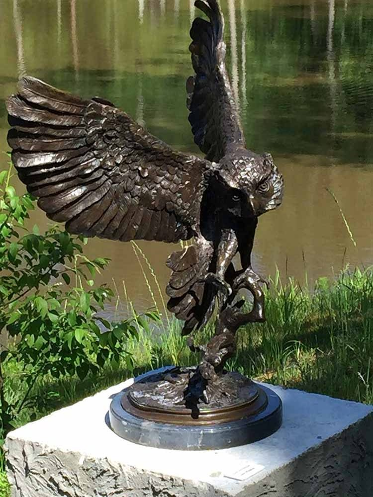 Jules Moigniez, Great Horned Owl, cast bronze, $9000, 4'x4'x4'